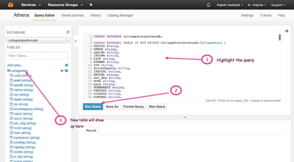 Create new table in Athena on AWS
