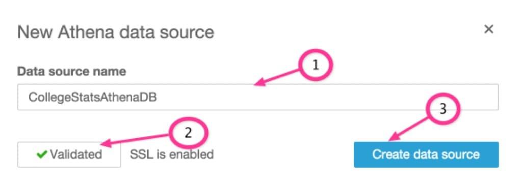 Create QuickSight Athena data source