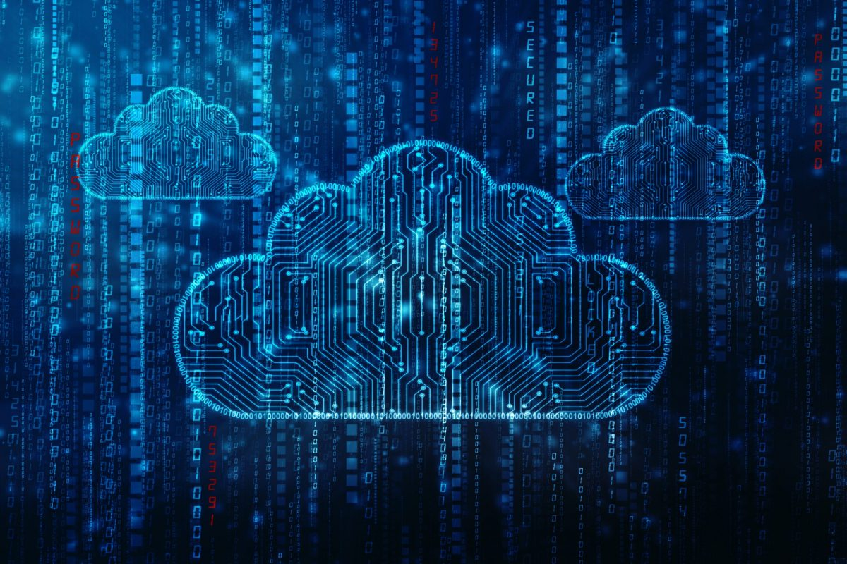Zaloni Multi-Cloud Data Management Digital Clouds on Code Background