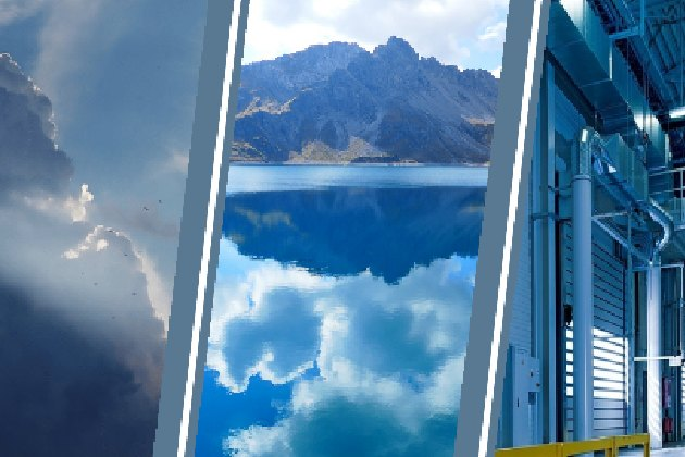 triple image data lake in clouds in lake reflecting mountain and in warehouse
