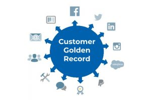 customer golden record blue circle pointing to different data points